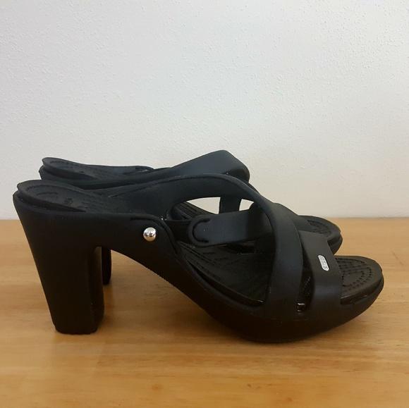 05c37fe674 CROCS Shoes | Cyprus Iv Heel Black Sandal8 | Poshmark